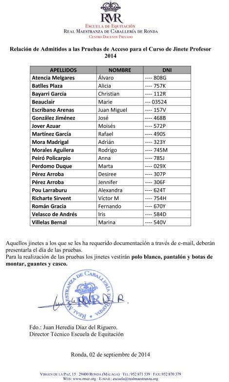 CURSO JINETE PROFESOR 2007-2010 : PRUEBAS DE ACCESO